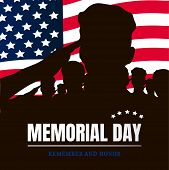 Memorial Day Silhouettes Of Soldiers Against The Background Of The American Flag poster