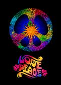 Pacific - A Symbol Of The Hippie. Love And Peace Concept. Rainbow Psychedelic Colors On A Black Back poster