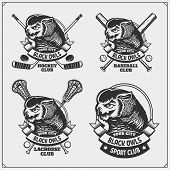 Lacrosse, Baseball And Hockey Badges And Labels. Sport Club Emblems With Owl. poster