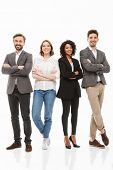 Full length portrait of a group of happy multiracial business people standing with arms folded isola poster