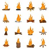 Bonfire Night Fire Icons Set. Flat Illustration Of 16 Bonfire Night Fire Vector Icons Isolated On Wh poster