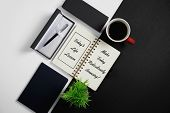 Notebook, Inspirational Quotes With Pen, Coffee Mug And Potted Plant poster