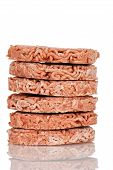 Stack of frozen hamburgers