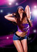 girl dancing in discolight