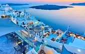 Evening in Santorini - Thira town and Aegean sea at sundown, Greece - Landscape poster