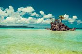 Transparent Shallow Water. Travel To Philippines. Summer Luxury Vacation. Boracay Paradise Island. W poster