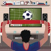 Football Fan Rejoices At The Goal. Viewing Soccer Game At Home On Big Tv. Interior Room Of Football  poster