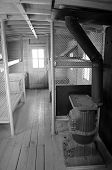 image of caboose  - Interior view of 1907 Santa Fe railroad caboose - JPG