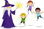 Illustration of a Wizard Casting a Spell on Kids