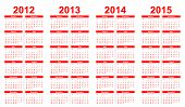 Template foe calendar 2012-2015