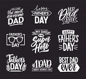 Happy Fathers Day Lettering Calligraphic Compositions. Hand Drawn Inscriptions On Dark Background Fo poster