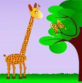 Постер, плакат: Жираф и ее сестру бабочка