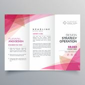Abstract Pink Trifold Business Brochure Vector Design poster