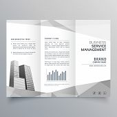 Amazing Trifold Brochure Design With Business On Gray Geometric Shapes poster