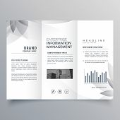 Creative Trifold Brochure Template With Abstract Gray Shape poster