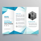 Abstract Blue Business Trifold Brochure Design Template poster