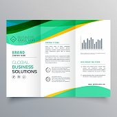 Wavy Green Trifold Business Brochure Vector Design poster