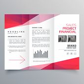 Vector Clean Red Trifold Business Brochure Design Template poster