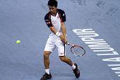 BUKIT JALIL, MALAYSIA- OCT 01: Japan's Kei Nishikori attempts a return in this Malaysian Open semi-f