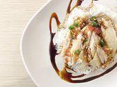 Hainanese Chicken Rice , Thai Gourmet Steamed Chicken With Rice. In Thai Word Called  khao Mun Kai poster