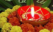 Vivid Colours Diwali Marigolds Diva Candle Lamp