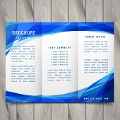 Wave Style Blue Trifold Brochure Vector Design poster