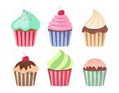 Постер, плакат: Cartoon Cupcake Set Colorful Cupcakes Cartoons Cupcakes Cartoons