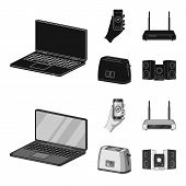Home Appliances And Equipment Black, Monochrom Icons In Set Collection For Design.modern Household A poster