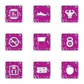 Sport Entertainment Icons Set. Grunge Set Of 9 Sport Entertainment Vector Icons For Web Isolated On  poster