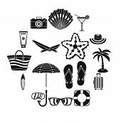 Summer Rest Icons Set. Simple Illustration Of 16 Summer Rest Vector Icons For Web poster