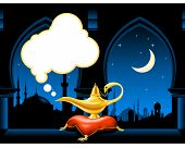 stock photo of chalice antique  - Magic lamp on the pillow and arabic city skyline - JPG