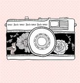Background With Retro Camera. Vector Illustration. Photo Camera With Flowers And Birds.