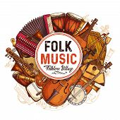 Folk Music Concert Sketch Poster With Musical Instruments. Vector Design Of Musical Button Accordion poster