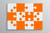 Orange Piece Puzzle Rectangle Banner. Puzzle Business Presentation. Rectangle Puzzle Infographic. 12 poster