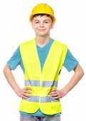 Emotional Portrait Of Teen Boy Wearing Safety Jacket And Hard Hat. Happy Child Looking At Camera, Is poster