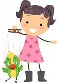 stock photo of little girls  - Illustration of a Little Puppeteer Manipulating Her Puppet - JPG