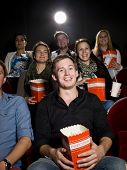 Man At The Cinema With Popcorn