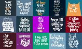 Hand Drawn Lettering Greeting Cards Collections About Cats Isolated On The White Background. Fun Bru poster