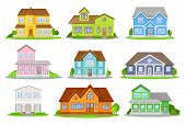 Cartoon Set Of Colorful Houses With Green Meadow, Bushes And Trees. Cozy Residential Cottages. Lovel poster