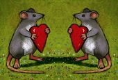 Pastel Painting of Two Mice Exchanging Hearts