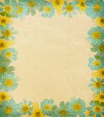 paper textures with  floral frame