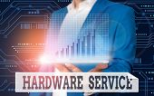 Conceptual Hand Writing Showing Hardware Service. Business Photo Showcasing Act Of Supporting And Ma poster