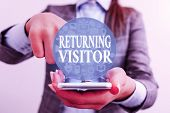 Handwriting Text Writing Returning Visitor. Concept Meaning When Someone Returns To Your Website Mul poster