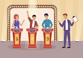 Quiz Tv Show Flat Vector Illustration. People Cartoon Characters Playing Television Game Show, Answe poster