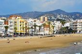 SITGES, SPAIN - MARCH 3: View of Ribera Beach on March 3, 2012 in Sitges, Spain. This urban beach, i