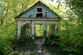 stock photo of house woods  - an abandoned old house in the woods - JPG