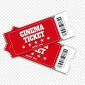 Two Cinema Vector Tickets  Realistic Front View Illustration. Close Up Top View On Two Designed Movi poster