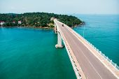 Scenic Aerial View Of Bridge Over The Sea. Bridge Techo Morakat To Snake Island Koh Puos. Sihanoukvi poster
