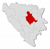Map Of Bosnia And Herzegovina, Zenica-doboj Highlighted
