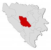 Map Of Bosnia And Herzegovina, Central Bosnia Highlighted